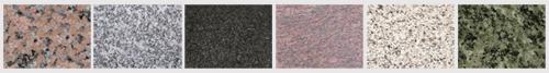Exemples de granit: Rose de la Clarté de Bretagne, Gris du Tarn, Rustenberg, Rose Dalva, Blanc Cristal, Vert Olive…